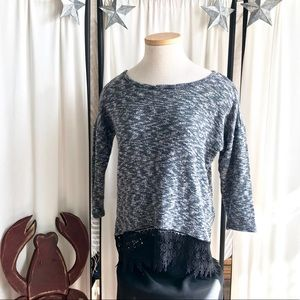 Black & White Sweater with Lace Trim